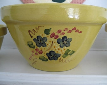 Set of Three Crocks/ Mixing Bowls Robinson Ransbottom RR Yellow Hand Painted Florals Stoneware Ceramics Roseville Ohio USA Pottery