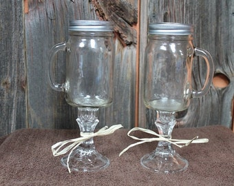 Set of 2-Hillbilly/Redneck/Beer Glasses 16 oz size with handle