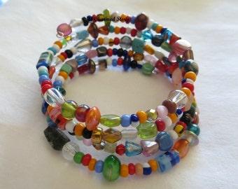 Festive Colors Memory Wire Bracelet