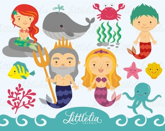 little mermaid family clipart set / instant download - 13014