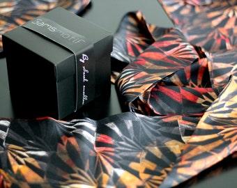 écharpe orange -Silk scarf - 17x220 cm- Made in France - Limited edition-
