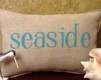 SEASIDE Stenciled Burlap Pillow