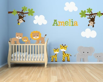 Wall Decal - Jungle Decal - Jungle Wall Decal - Kids Wall Decals SET - Giraffe, Elephant, Monkey, Zebra - Baby Boys Girls Bedroom Decal