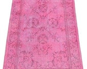 3.9x6.5 Ft (115x195 cm) Pink Color OVERDYED Vintage Turkish Rug,  Wool & Cotton Blend Distressed Handmade Carpet, FREE Shipping, NO362
