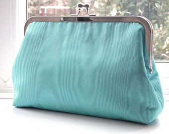 Clutch Bag, Kisslock Frame Purse, Evening Bag, Wedding Bag, Silver Frame, Blue Moiré Taffeta, UK Seller