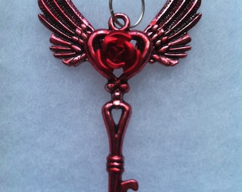 Red Detailed Winged Rose Key