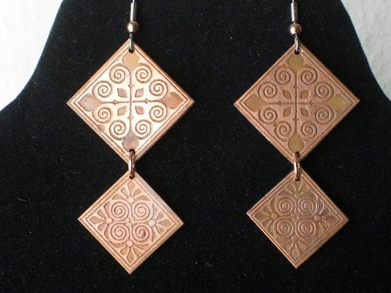 Squary Chandelier - Dangle earrings - Handmade Copper One of a kind