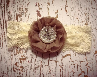Brown and Ivory Lace Flower Headband