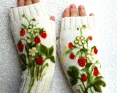 Knitting Fingerless Gloves with strawberries, Girls Women Christmas gift, Women winter accessories Strawberries