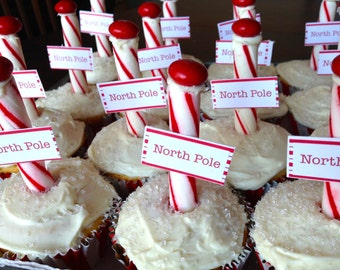 North Pole Cupcake Labels