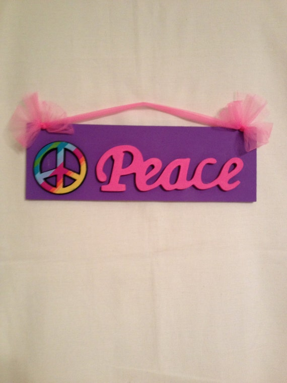 Items Similar To Girls Peace Sign Bedroom Wall Decor Peace