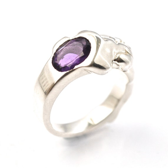 unique amethyst ring purple gemstone artisan jewelry