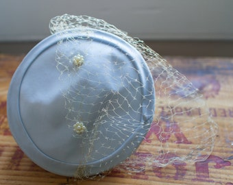 1950's Pale Blue Fascinator Hat with Birdcage Veil