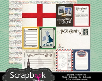 England Journal Cards. Digital Scrapbooking. Project Life. Instant Download.