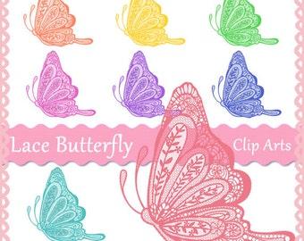 Lasce Butterfly Clip Arts, 8 pieces, PNG files -E060- Instant Download