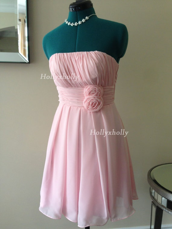 Short pink bridesmaid dress, chiffon bridesmaid dress