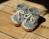 Custom-made wool crocheted slippers with sheepskin and moosehide soles size Baby small