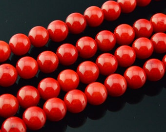 "16""  8MM  Red  Sea Coral  Round Loose  Gemstones Beads"