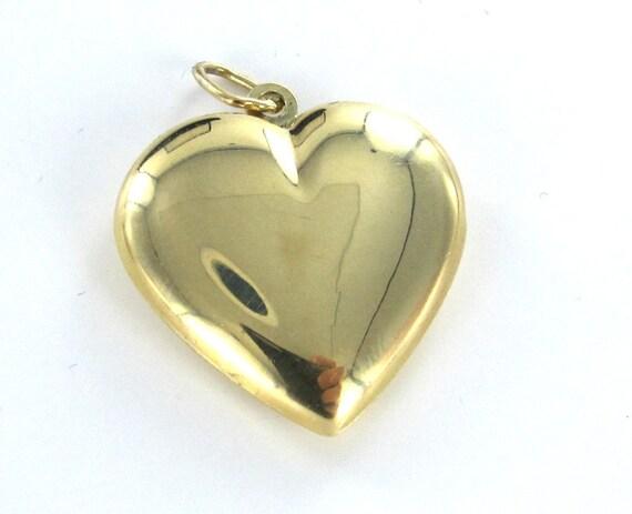 Items Similar To 14 Karat Gold Heart Pendant Puffed 3D On Etsy