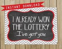 Chevron Chalkboard Lottery Card, Love, Valentine's Day, Anniversary, Instant Download, Digital JPEG file
