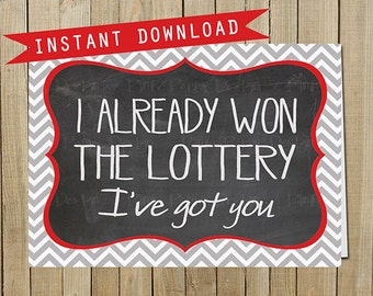 Chevron Chalkboard Lottery Card, Love, Valentine's Day, Anniversary, Instant Download, Digital JPEG file