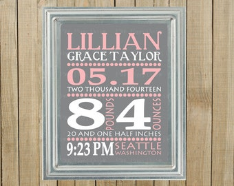 Gray with Pink and White Birth Statistics Announcement Wall Decor, Nursery, Playroom, Gift, Printable, Custom Digital File
