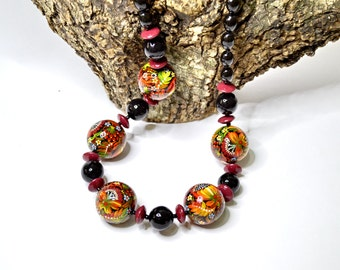 Necklace Wooden Beads . Handmade and Hand painting.Ukrainian folk art.Made to order.