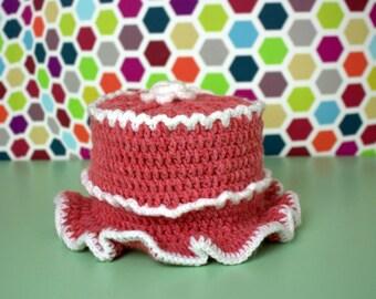 Toilet roll crochet Beanie pink