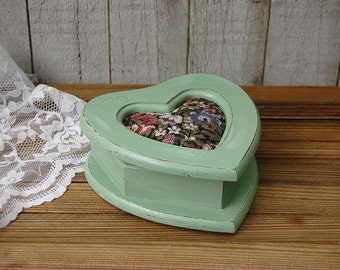Jewelry Box, Trinket Box, Shabby Chic, Sage Green, Distressed, Tapestry, Hand Painted, Heart Shaped