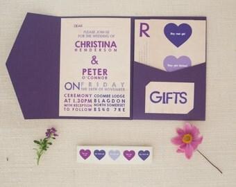 Rustic purple wedding invitation / stationery set
