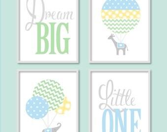 Baby Boy Nursery, Elephant Balloon Nursery, Blue Nursery, Dream Big Little One, Hot Air Balloon, Children's Art,