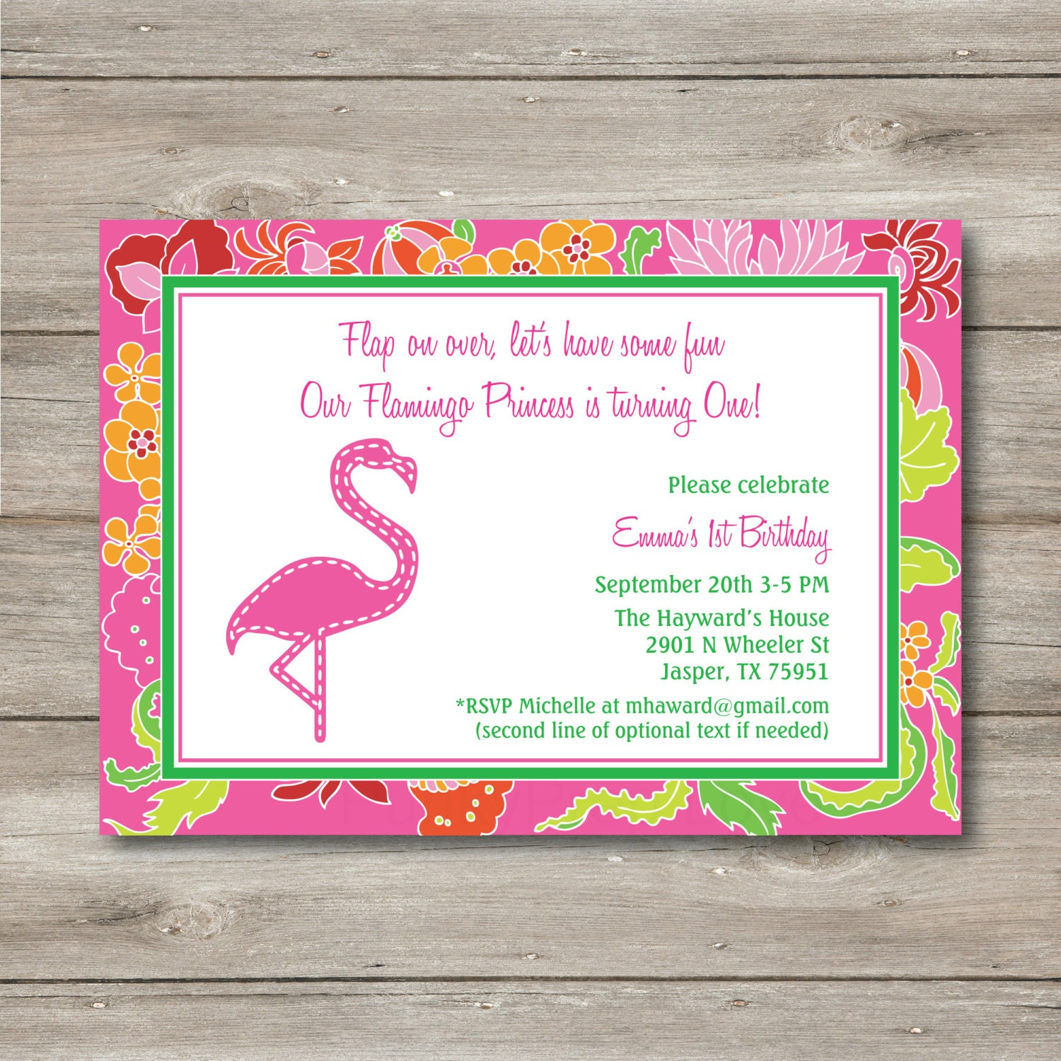 Pink Flamingo Invitation with Editable Text Printable Digital – Flamingo Party Invitations