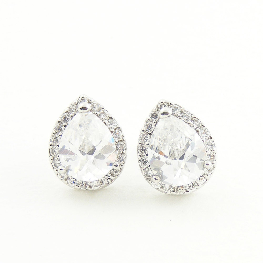 Crystal Bridal Earrings, Estate Style Stud Earrings, Silver Earrings Wedding Jewelry