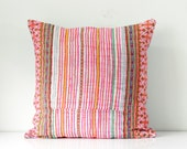 """Boho Bohemian RARE VINTAGE HMONG Textile Batik & Embroidered Ethnic Made A Piece Of Tradition Costume Pink Pillow Case 20"""" x 20"""""""