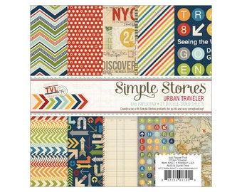 Simple Stories URBAN TRAVELER Travel Theme 6x6 Scrapbook Paper Pad - Great for mini albums and card making!