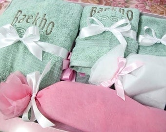 Monogrammed Bath Towel Sets, 100% Egyptian Cotton