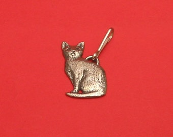 Sitting Cat Pewter Motif Zipper Pull Mothers Day Gift