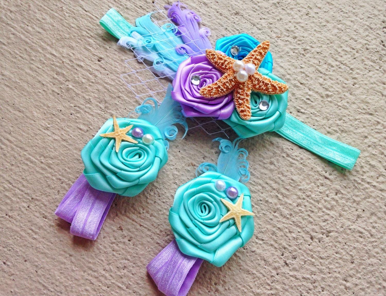 Mermaid Baby Barefoot Sandals Headband Set by BabySquishyCheeks