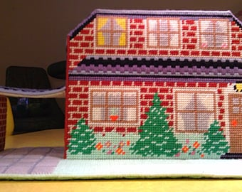 1980s FURNISHED Needlepoint  Dollhouse with DOLL FAMILY