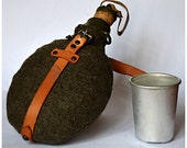 Army camping flask (Vintage Canteen, military bottle ) cork lid Aluminium cup - leather brown strap and khaki green insulating fabric cover