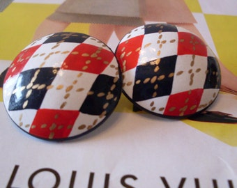 Handpainted Preppy Argyle Clip Style Earrings Fun and Funky