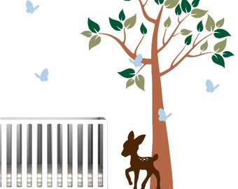 Colorful Nursery Wall Mural with Forest Tree, Deer, and Butterflies