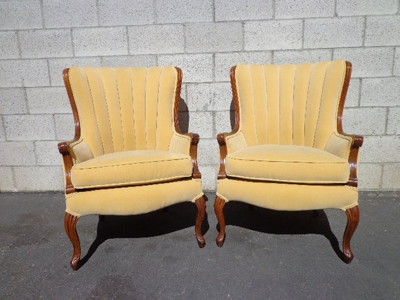 2 Vintage Channel Back Chairs Armchair Wingback Lounge Slipper