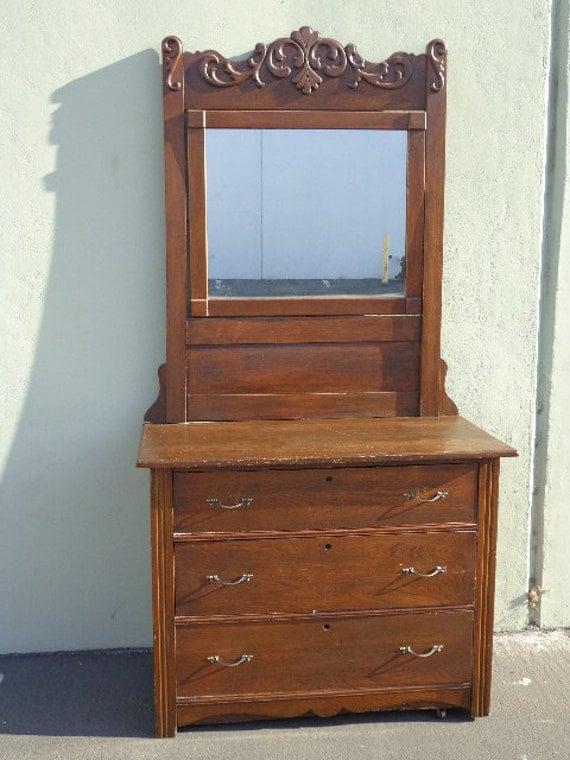 Eastlake Style Antique Chest Of Drawers Dresser Mirror Vintage