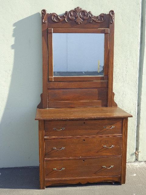 Eastlake style antique chest of drawers dresser mirror for Storage eastlake