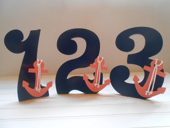 Table numbers nautical wedding decor beach wedding decor for Number 1 decorations
