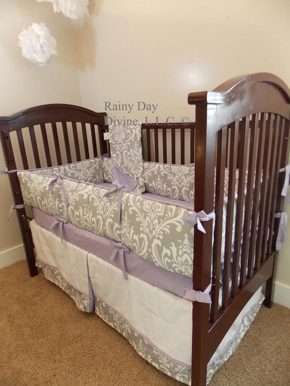 items similar to custom owl purple lavender yellow grey crib bedding on etsy. Black Bedroom Furniture Sets. Home Design Ideas