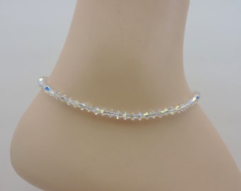Ankle Bracelet, Swarovski Crystal Ankle Bracelet, Aurora Borealis Crystal Anklet