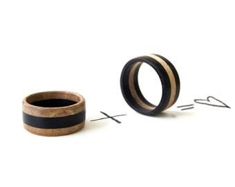 Wood Wedding Rings, Wooden Rings Set,  Wooden Wedding Rings, Wedding Bands, Ebony Rings, Natural Rings, Wooden Jewelry, Natural Jewelry