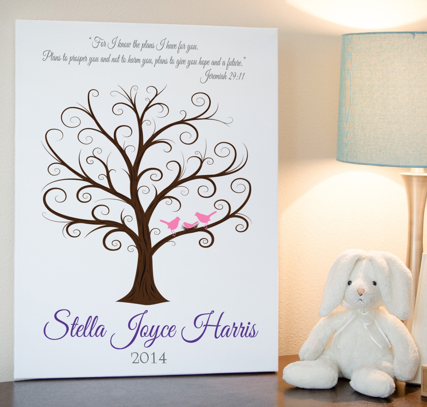 Thumbprint Tree Guest Sign: Baby Shower Fingerprint Tree 18x24 Guest Book Tree Guest